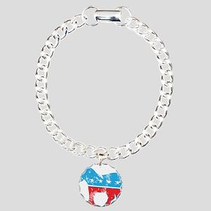 Democrat Donkey (Grunge Texture) Charm Bracelet, O