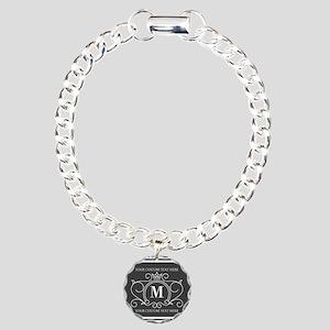 Gray Victorian Stripes P Charm Bracelet, One Charm
