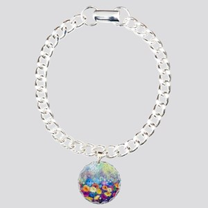 Floral Painting Charm Bracelet, One Charm