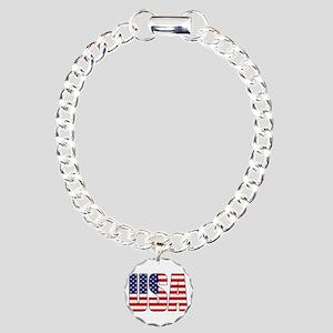 USA Flag Charm Bracelet, One Charm