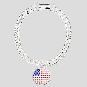 Patriotic Dachshund/USA Charm Bracelet, One Charm