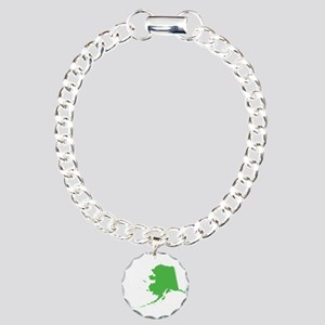 Alaska State Shape Outli Charm Bracelet, One Charm
