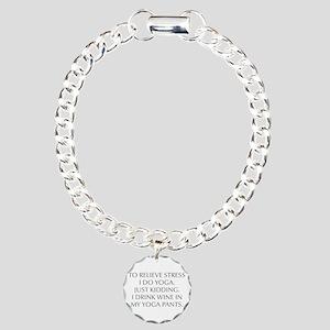 RELIEVE STRESS wine yoga pants-Opt gray Bracelet