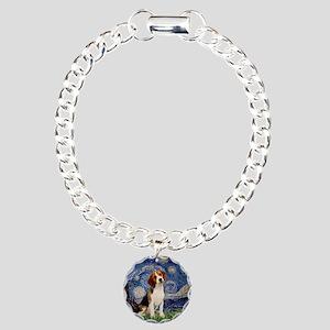 Starry Night & Beagle Pup Charm Bracelet, One