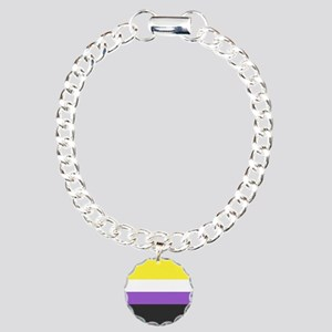 Solid Non-Binary Pride F Charm Bracelet, One Charm