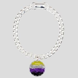 Non-Binary Paint Splatte Charm Bracelet, One Charm