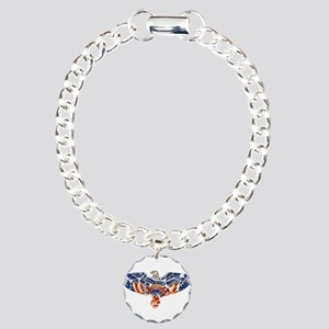 Retro Eagle and USA Flag Charm Bracelet, One Charm