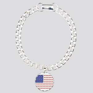 USA Patriotic Cat Flag Charm Bracelet, One Charm