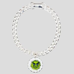 Green Spiky Monster Charm Bracelet, One Charm