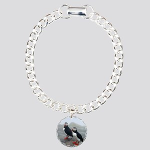 Puffins Keeping Watch Charm Bracelet, One Charm