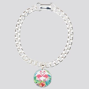 Flamingos With Colorful Charm Bracelet, One Charm
