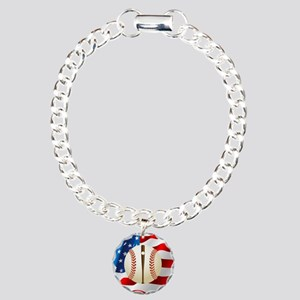 Baseball Ball On American Flag Bracelet