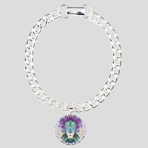 Triangle Colorful Lion Head Charm Bracelet, One Ch