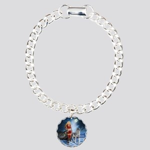 Warrior Woman and Wolf Charm Bracelet, One Charm