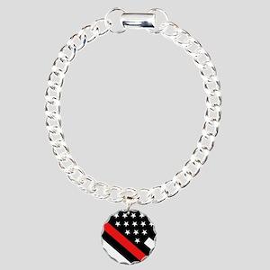 Firefighter Flag: Thin R Charm Bracelet, One Charm