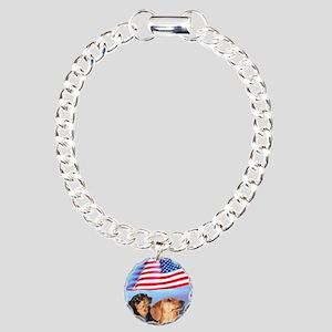 USA Dachshunds Charm Bracelet, One Charm