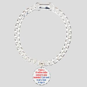 Basketball Contract Charm Bracelet, One Charm