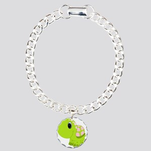 Pink and Green Baby Turtle Charm Bracelet, One Cha