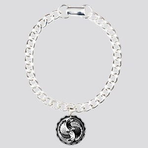 White Yin Yang Scorpions on Black Charm Bracelet,