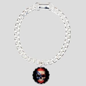 Puerto Rico Flag Skull on Black Charm Bracelet, On