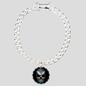 Scottish Flag Skull on Black Charm Bracelet, One C