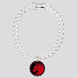 Growling Red and Black Wolf Circle Charm Bracelet,
