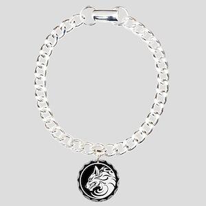 Growling White and Black Wolf Circle Charm Bracele