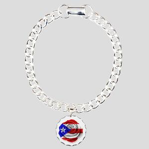 Puerto Rican Rose Flag on White Charm Bracelet, On