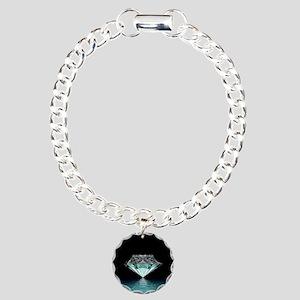 Aqua Diamond Charm Bracelet, One Charm
