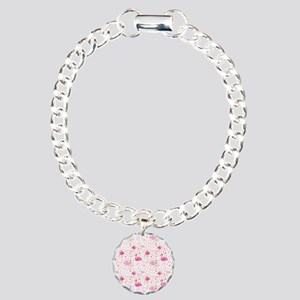 Pink Flamingos and dots Charm Bracelet, One Charm