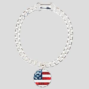 usa flag heart Charm Bracelet, One Charm
