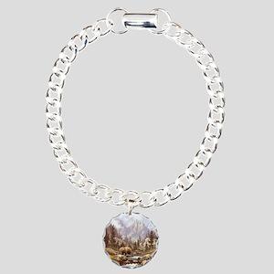 Grizzly Bear Landscape Charm Bracelet, One Charm