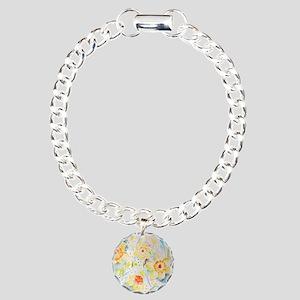 Watercolor yellow flower Charm Bracelet, One Charm
