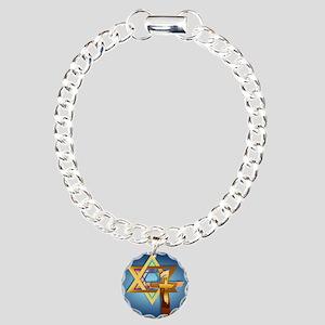 Star Of David and Triple Charm Bracelet, One Charm