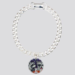 Raccoons at the Cafe Charm Bracelet, One Charm