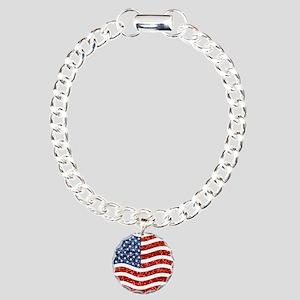 sequin american flag Charm Bracelet, One Charm
