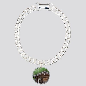 Old log cabin in woods, Charm Bracelet, One Charm