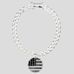 American Vintage Flag Bl Charm Bracelet, One Charm