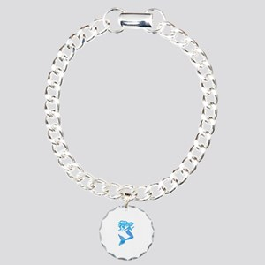 Watercolor Mermaid Charm Bracelet, One Charm