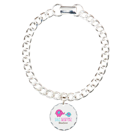 Personalized Big Sister Elephant Charm Bracelet, O