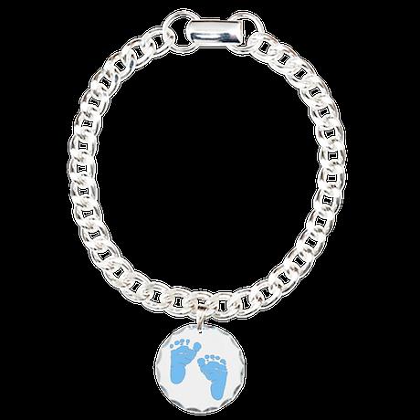 Personalized Baby Feet Blue Charm Bracelet, One Ch