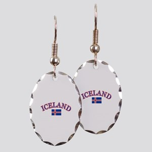 Iceland Soccer Designs Earring Oval Charm