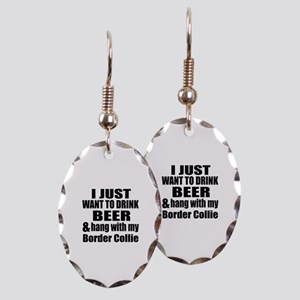 Hang With My Border Collie Earring Oval Charm