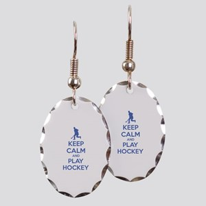 Keep calm and play hockey Earring Oval Charm