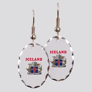 Iceland Coat Of Arms Designs Earring Oval Charm