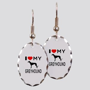 I Love My Greyhound Earring Oval Charm