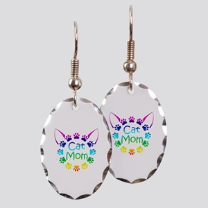 """Cat Mom"" Earring Oval Charm"