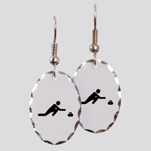 Curling player Earring Oval Charm