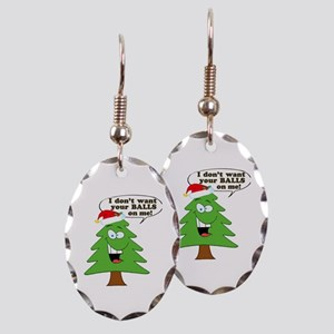 Christmas Tree Harassment Earring Oval Charm