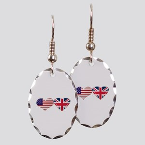 USA and UK Heart Flag Earring Oval Charm